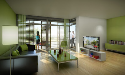 Perspective 3d de logements bioclimatiques label BBC