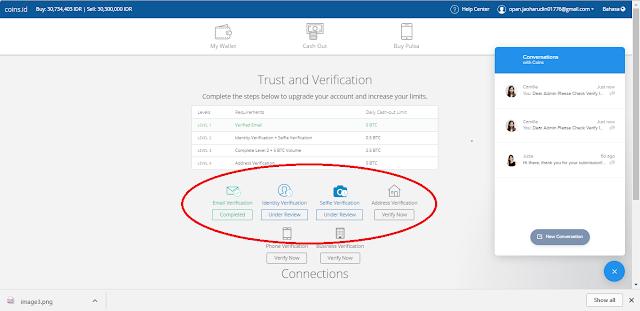 Verifikasi Akun App.coins.id berlangsung