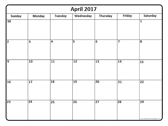 April 2017 Calendar | Printable Blank Templates - Printable