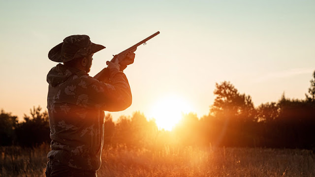 man pointing rifle skyward