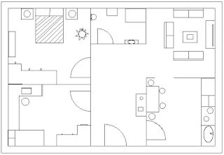 disear el plano de una casa con saln comedor cocina bao y podis coger ideas de este enlace o del siguiente ejemplo