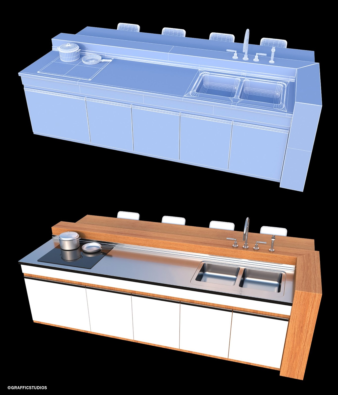 cuisine cr ation d 39 un lot central. Black Bedroom Furniture Sets. Home Design Ideas