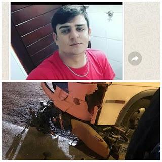 Jovem de Baraúna morre em acidente em Recife, moto ficou debaixo de ônibus