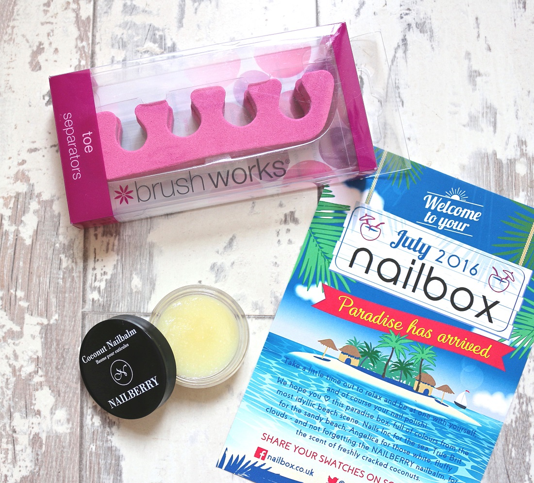 Nailbox July 2016 Review Nailberry Coconut Nailbalm, Brush Works Toe Separators
