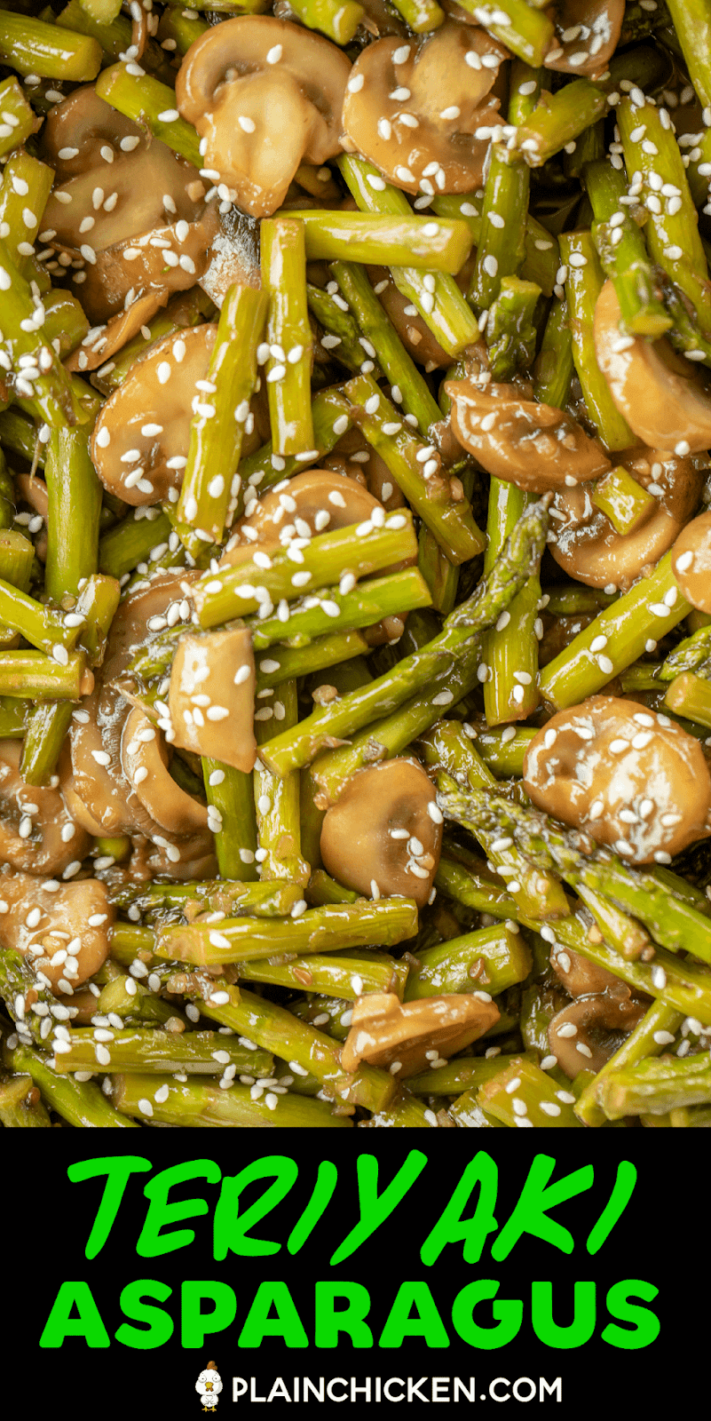 close up of cooked asparagus and mushrooms