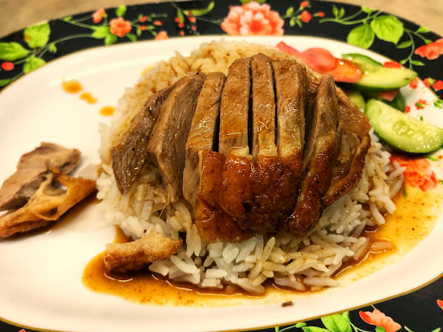 traditional Thai-style roasted duck in brown sauce with cucumber and pickled ginger served over rice