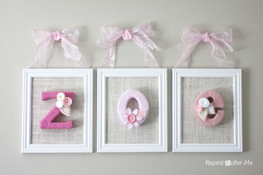 Yarn Wrapped Letters for Baby\'s Room - Repeat Crafter Me