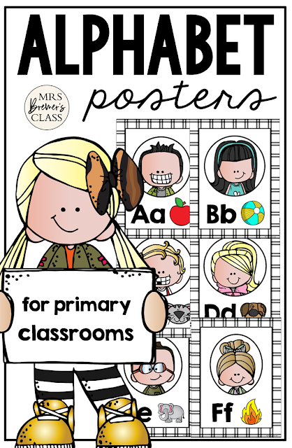 Alphabet Posters featuring Melonheadz Kidlettes! Makes a sweet bulletin board display and a great visual reference for students who need support for uppercase letters, lowercase letters, letter sounds, and ABC order. #alphabet #classroomsetup #classroom #classroomdecor #kindergarten #1stgrade