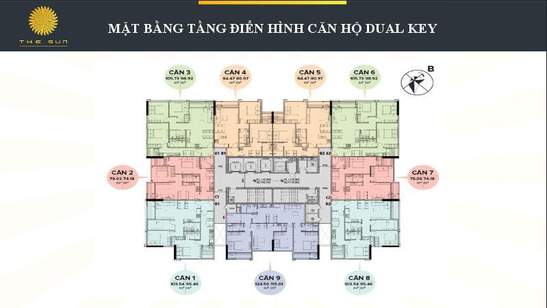 Mặt bằng căn hộ DUAL KEY Chung Cư The Sun