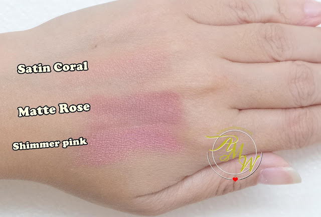 a swatch photo of Cloud Cosmetics Powder Blush Review in Satin Coral Matte Rose and Shimmer pink