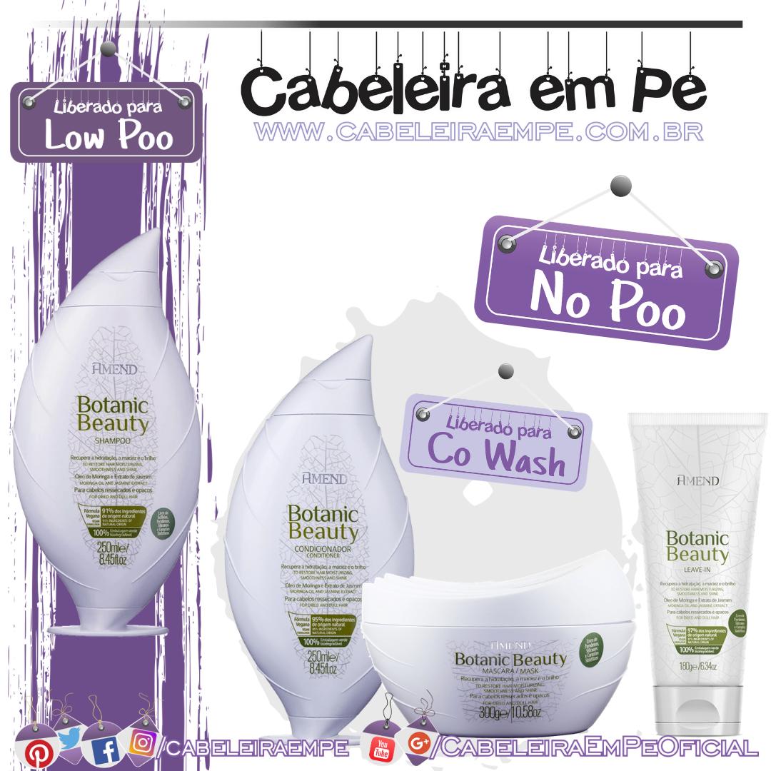 Shampoo (Low Poo), Condicionador, Máscara e Leave in (Liberados para No Poo) Botanic Beauty Óleo de Moringa e Extrato de Jasmim - Amend