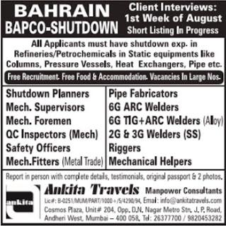 BAPCO Shutdown project jobs in Bahrain