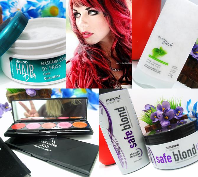 Produtos favoritos para cabelos e maquiagens