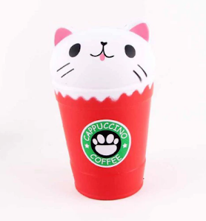 Jumbo Squishy Squeeze Coffee Cups Cat PU Collection Gift Soft Toy - White