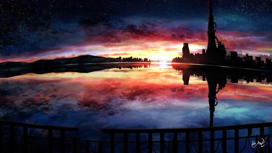 Sunset, Sky, Scenery, Anime, 4K, #6.2598