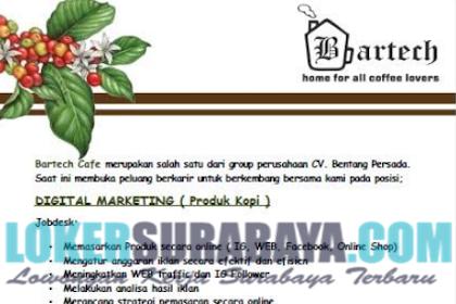 Loker Surabaya Terbaru di Bartech Cafe Mei 2019