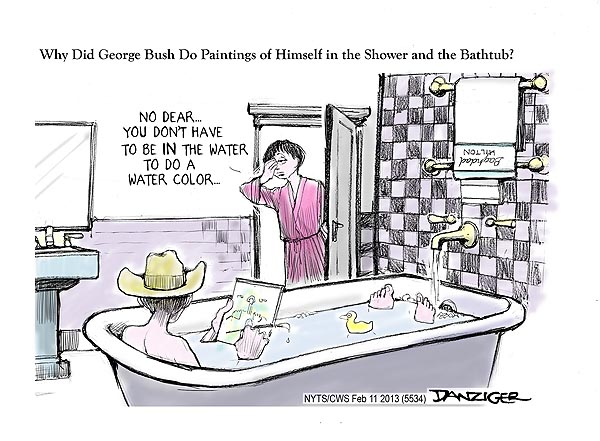 "George Bush Painting Bathtub: ""All Things Are Bound Together; All Things Connect"