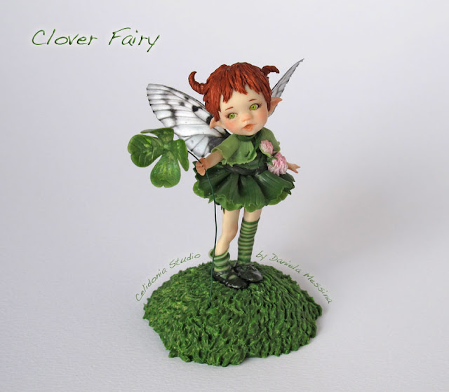Clover Fairy - Mini Scultura in Pasta Sintetica by Celidonia - Daniela Messina