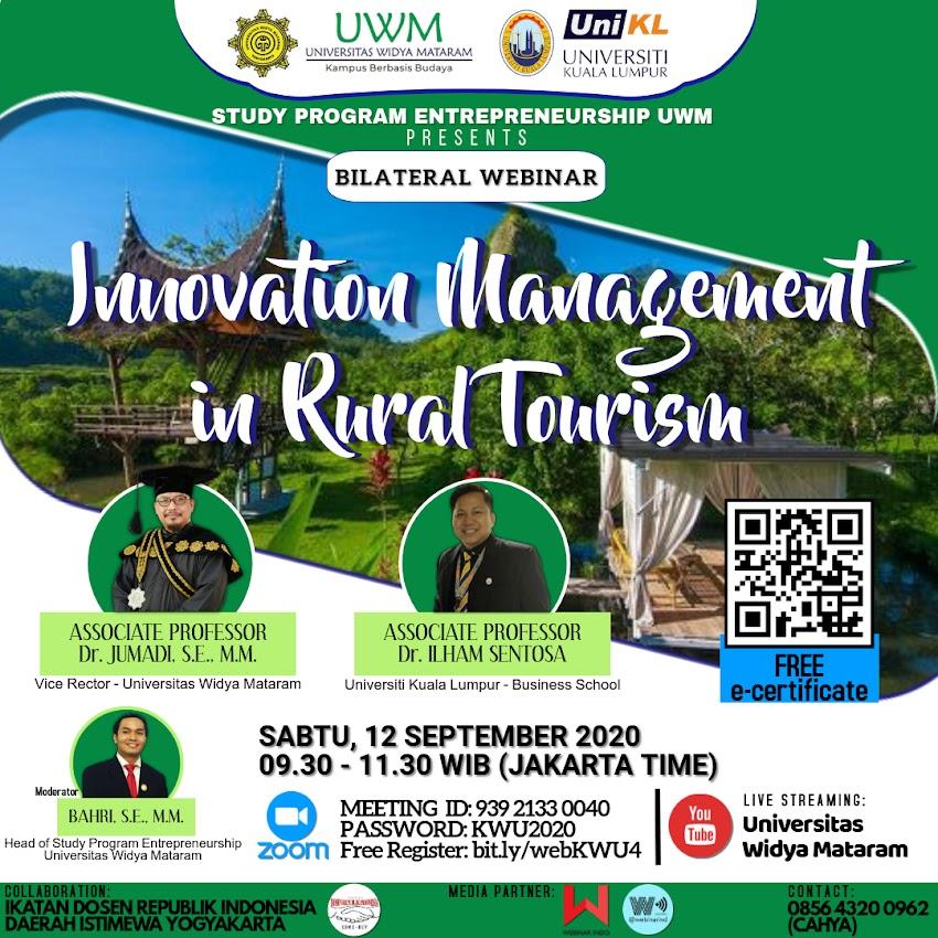 """Bilateral Webinar """"Innovation Management in Rural Tourism"""""""