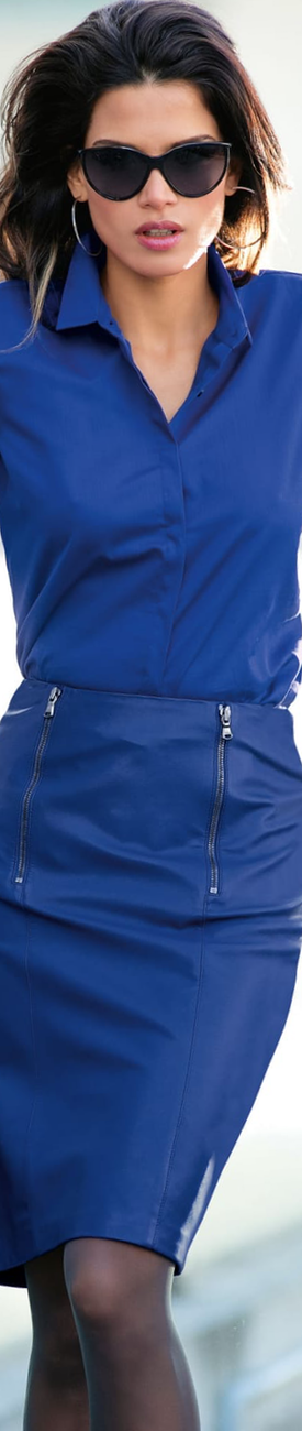 Madeleine Royal Blue Leather Skirt