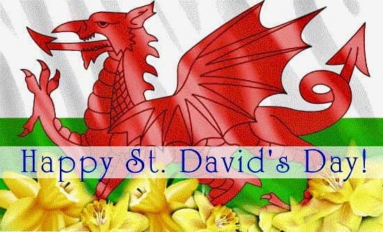 Welsh Dragon in Red featured in front of a Green, White and yellow daffodil background. Text reads... Happy St, David's Day!
