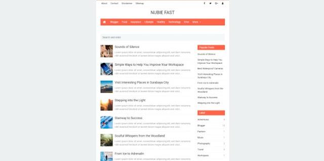 nubie fast blogger template 2018