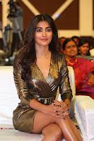 Pooja Hegde looks glamarous in deep neck sleevless short tight golden gown at Duvvada Jagannadham thank you meet function 120.JPG