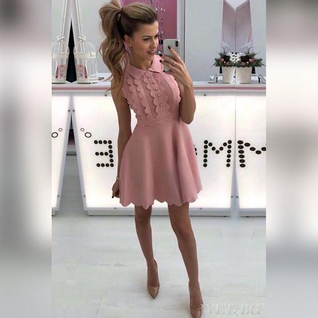 Αμάνικο κοντό  ανοιχτό ροζ φόρεμα PINKY