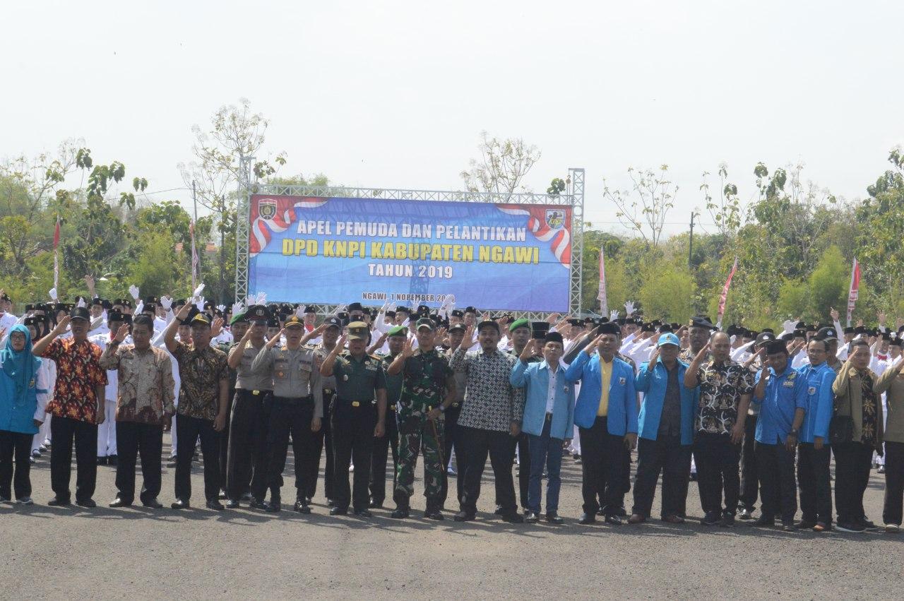 Danramil 0805/13 Kedunggalar Hadiri Apel Pemuda Dan Pelantikan DPD KNPI Kabupaten Ngawi