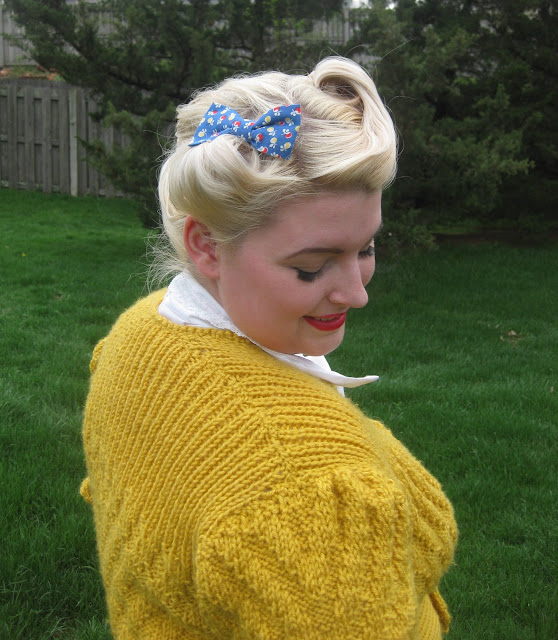 1940s date makers cardigan and victory rolls