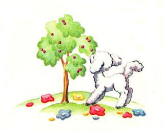 lamb tree flowers field image illustration
