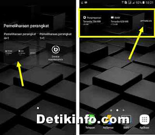 aktifkan widget optimasi RAM samsung