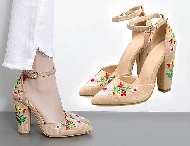 High heels gaya Bohemian dalam waena beige