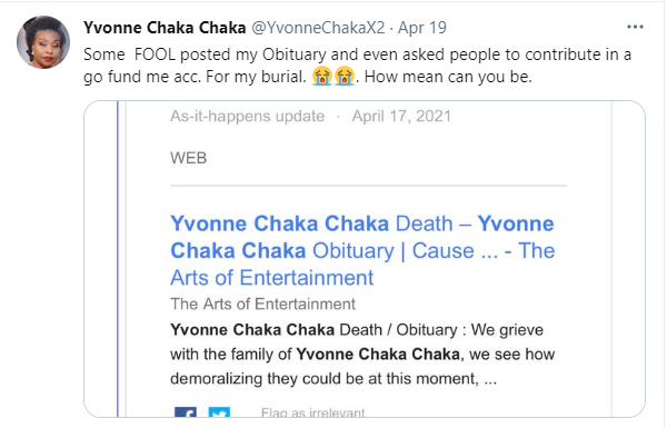 I am not dead, I am alive- 'Singer Yvonne Chaka Chaka reacts after a GoFundMe page was created for her burial