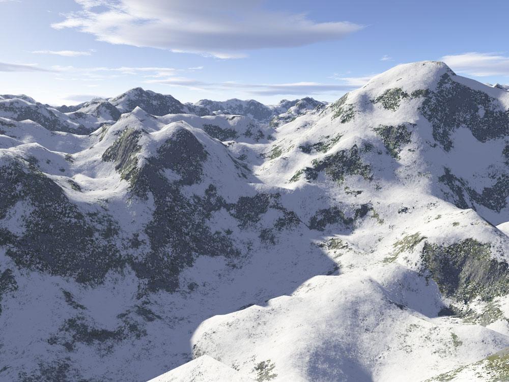 Tietokoneella piirretty luminen vuoristomaisema.