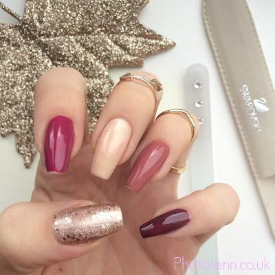 autumn-nails-barry-m-golden-sands-no7-foxglove-essie-max-factor-candy-rose-Rimmel
