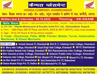 ITI And 12th Pass Job Campus Placement For Honda Motorcycle & Scooter India Pvt. Ltd, Gujarat in  Khandauli, Agra. (U.P.)