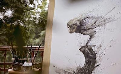 Pintura con salpicaduras contemporanea de buho