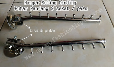 Hanger Gantungan Suling Dinding Putar Panjang 9 Sekat / paku