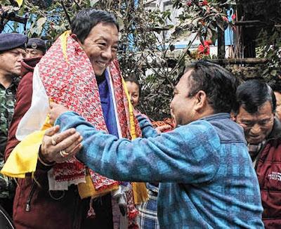 A Tukvar resident welcomes Binay Tamang