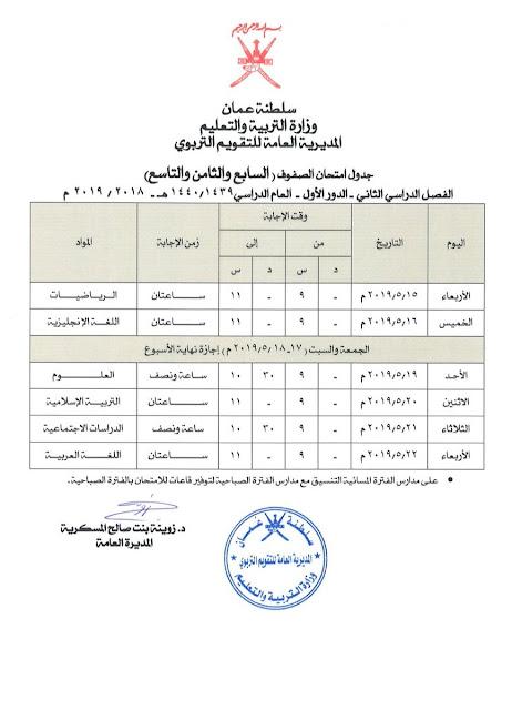 جدول امتحانات الصفوف السابع  والثامن والتاسع  الفصل الدراسي الثاني لعام 2019