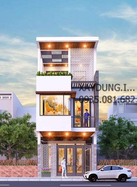 mặt tiền mẫu nhà phố 3 tầng đẹp