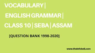 Vocabulary | Class 10 | Question Bank 2020 | HSLC | SEBA | ASSAM