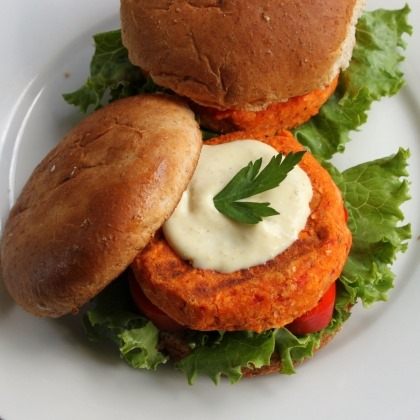 Bean and Roasted Pepper Burgers
