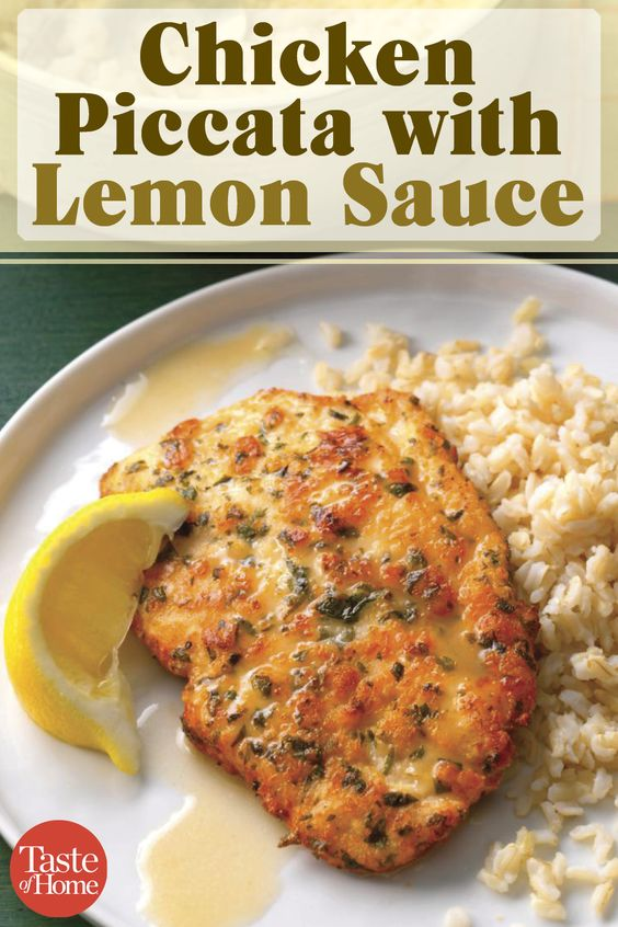 Once you've tried this tangy, yet delicate lemon chicken piccata, you won't hesitate to make it for company. Seasoned with parmesan and parsley, the chicken cooks up golden brown, then is drizzled with a light lemon sauce. —Susan Pursell, Fountain Valley, California