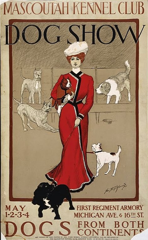USA 1901 Dog Show poster woman in red Victorian clothing holding leash of small black dog sepia background with white dogs in background -Free Wikipedia image