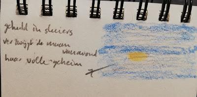Maan achter sluier, tekening met haiku