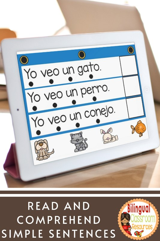 BOOM Cards I Sentence to Picture Match I in Spanish