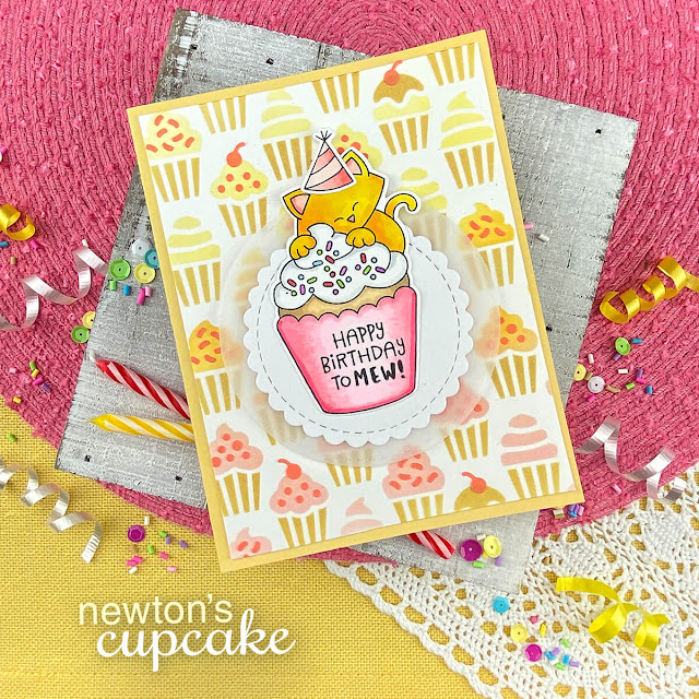 Birthday Cat and Cupcake Card by Jennifer Jackson | Newton's Cupcake Stamp Set and Cupcakes Stencil Set by Newton's Nook Designs #newtonsnook #handmade
