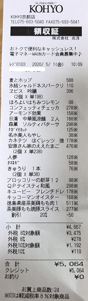 KOHYO 京都店 2020/5/1 のレシート